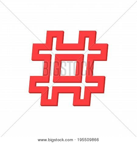red outline hashtag icon on white background. concept of micro blogging, web communicate, pr, popularity search, grid, short message exchange. flat style modern logotype design vector illustration