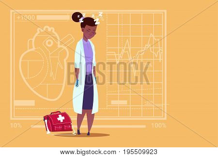 Female African American Doctor Tired Napping Medical Clinics Worker Hospital Flat Vector Illustration