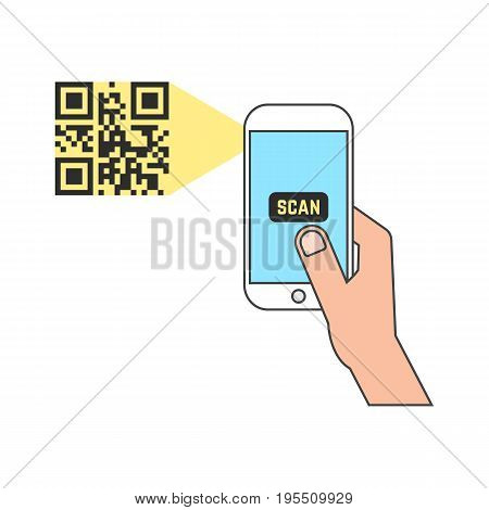 outline smart phone scanning qr code. concept of ecommerce, gadget, read bar code, mobility, generating app, coding. isolated on white background. flat style trend modern design vector illustration