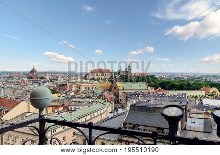 Krakow - Wawel castle in urban areas. Day photo. Poland Europe.