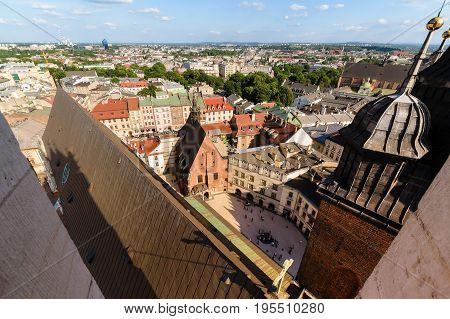 Afternoon photo of Krakow urban areas. Poland Europe.
