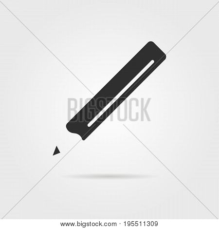 black pencil icon with shadow. concept of sketch item, designer, office supplies, secretarial, graphic, crayon. isolated on gray background. flat style trend modern logotype design vector illustration