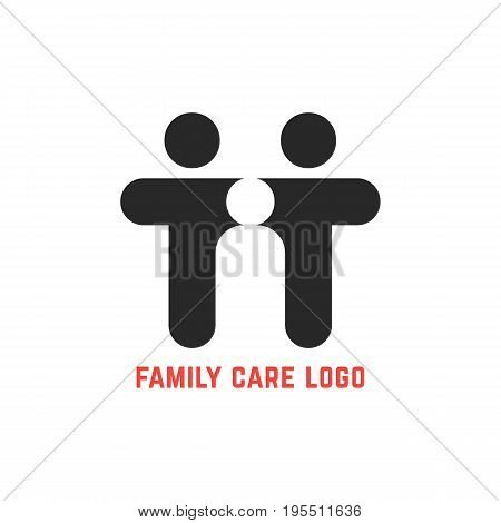 black simple family care logo. concept of motherhood, secure, nurture, teamwork, caring, community, protect. isolated on white background. flat style trend modern brand design vector illustration