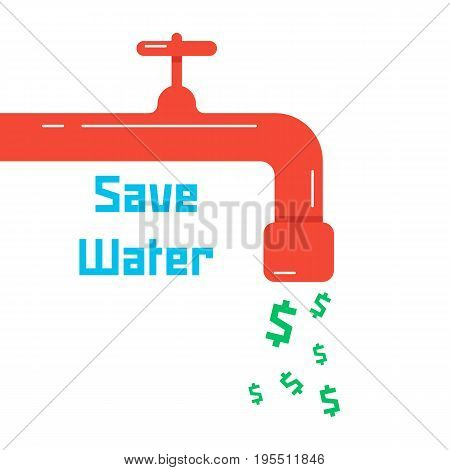 save water with red faucet. concept of thrifty lifestyle, supply, environmental guard, low water consumption, charge. isolated on white background. flat style trend modern design vector illustration