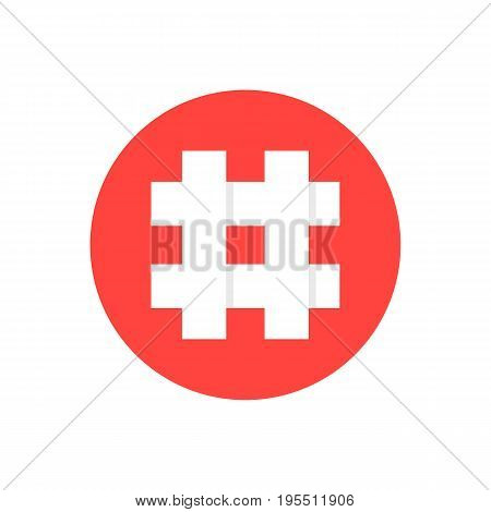 white hashtag in red circle. concept of social media, micro blogging, pr, popularity, blogger, grille, grid. isolated on white background. flat style trend modern logotype design vector illustration