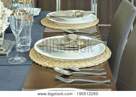 Elegance table setting for luxury dining time