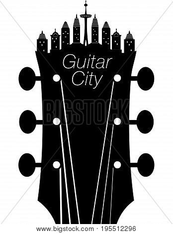 Creative guitar city music background with a headstock
