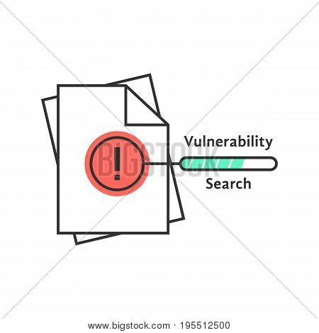 vulnerability search thin line icon. concept of success, verify, loss, infringement, violation, accountant, scan. isolated on white background. flat style trend modern logo design vector illustration