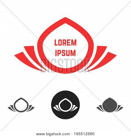 abstract flower logos set. concept of droplet, visual identity, eco friendly badge, relaxation, ecological mark. isolated on white background. flat style trend modern brand design vector illustration