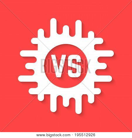 white versus icon with shadow. concept of confrontation, retro mark, together, standoff, final fighting, assault. isolated on red background. flat style trend modern logo design vector illustration