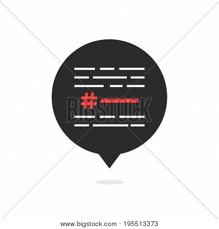 hashtag with simple text in black bubble. concept of micro blogging, pr, popularity, blogger, relevant. isolated on white background. flat style trend modern logotype design vector illustration