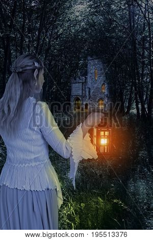 female elf in the woods with lantern