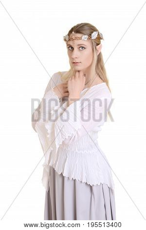 isolated female elf with crown on white background