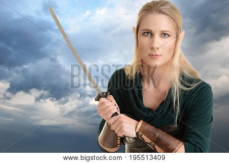 portrait female elf with sword and stormy sky