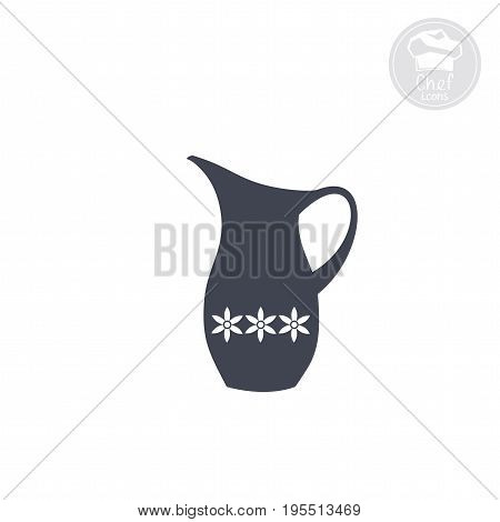 jug decorated with flowers icon, Vector computer graphics