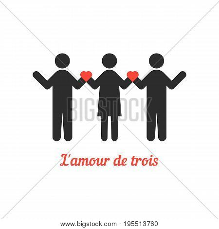 love threesome with stick people. concept of relation, heterosexual, rendezvous, attitudes, bigamist. isolated on white background. flat style trend modern logotype design vector illustration
