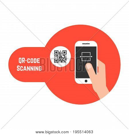 qr code scanning in red bubble. concept of ecommerce, gadget, read bar code, mobility, generating app, coding. isolated on white background. flat style trend modern design vector illustration