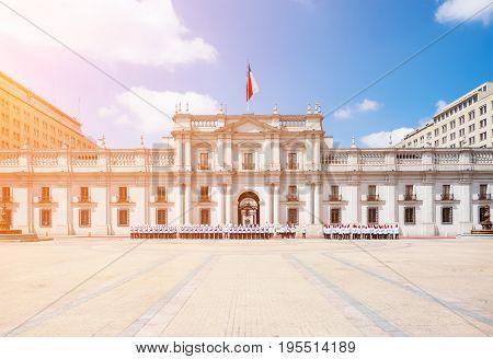 Parade Near La Moneda Palace (.palacio De La Moneda) In Santiago, Chile