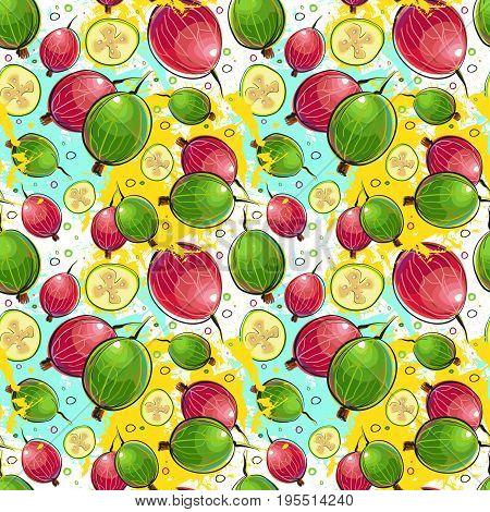 Seamless Pattern Kumquat Fruits Exotic Ornament Background Vector Illustration