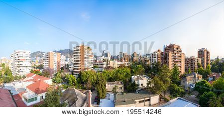 Panoramic view of the resedential neighborhood in Providencia commune in Santiago Chile