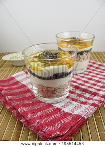 Dessert with rolled oats, passion fruit and chia seeds