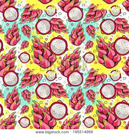 Seamless Pattern Pitaya Fruits Exotic Ornament Background Vector Illustration