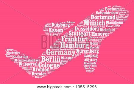Localities in Germany word cloud concept over airplane shape