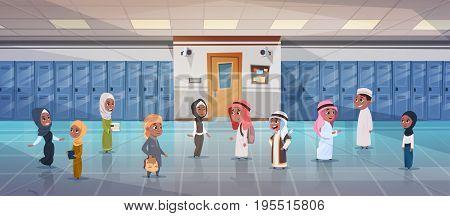 Group Of Arab Pupils Walking In School Corridor To Class Room, Muslim Schoolchildren Flat Vector Illustration