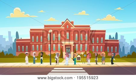 Group Of Arab Pupils Stand In Front Of School Building Primary Muslim Schoolchildren Talking Students Flat Vector Illustration