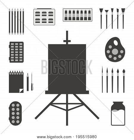 set of black art things. concept of instrument, paintings, subjects, acrylic, creativity supplies, felt pen, sketching. isolated on white background. flat style trend modern design vector illustration