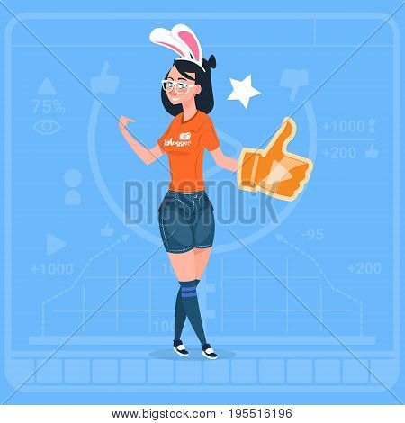Girl Hold Thumb Up Modern Video Blogger Vlog Creator Channel Like Flat Vector Illustration