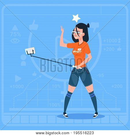 Girl Stream Modern Video Blog With Cell Smart Phone Vlog Creator Channel Flat Vector Illustration