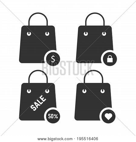 set of black shopping bags. concept of packaging, travel, customer, economy, percent coupon, paper bag, bargain. isolated on white background. flat style trend modern logo design vector illustration
