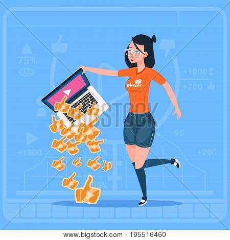 Girl Hold Laptop With Thumb Up Modern Video Blogger Vlog Creator Popular Channel Like Flat Vector Illustration
