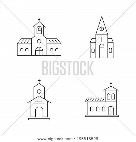 set of thin line black church. concept of sanctuary, pray, community, doctrine, place for prayer, sect, sacrament. isolated on white background. flat style trend modern logo design vector illustration