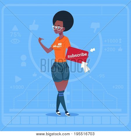 African American Girl Subscribe Modern Video Blogger Vlog Creator Channel Like Flat Vector Illustration
