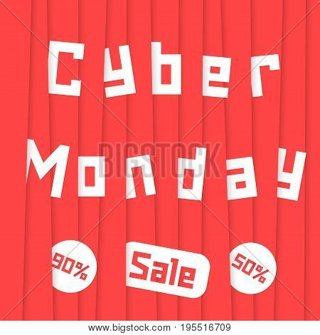 cyber monday sale with red stripes. concept of black friday sale shopping, cheap merchandise, marketing, wallpaper, holiday, stock, promo. flat style trend modern design vector illustration