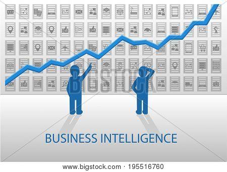 Business Intelligence illustration. Analyzing positive chart and icons