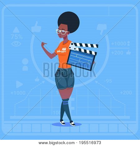 African American Girl Holding Clapperboard Modern Video Blogger Vlog Creator Channel Flat Vector Illustration