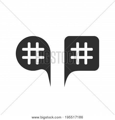 hashtag in black speech bubbles. concept of micro blogging pr, popularity blogger, grille, grid, relevant queries. isolated on white background. flat style trend modern logo design vector illustration
