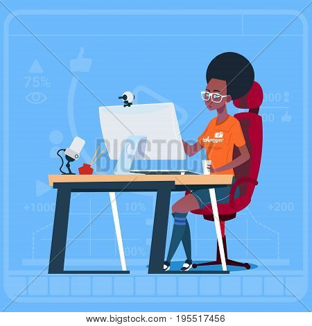 African American Girl Blogger Sit At Computer Streaming Video Blogs Creator Popular Vlog Channel Flat Vector Illustration