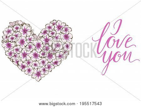 Heart of violets flowers lettering I LOVE YOU isolated on white background. Vector