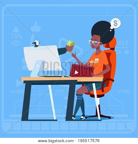 African American Girl Blogger Sit At Computer Streaming Video Blogs Earn Money Creator Popular Vlog Channel Flat Vector Illustration