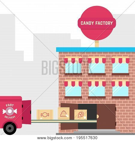 candy factory with fast delivery. concept of pastry, workshop, distribution, conveyor, deliver, conveyer, manufacturing, confectionery equipment. flat style trend modern design vector illustration