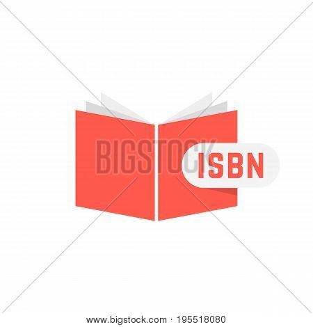 isbn sign with red book. concept of scanning, identifying, brochure key, commerce, marketing, publishing. isolated on white background. flat style trend modern logotype design vector illustration