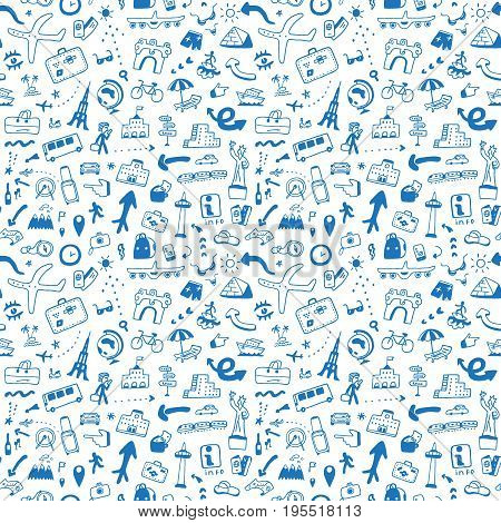 travel seamless pattern with icons in sketch style , design element