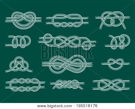 Navy blue rope with marine knots white pattern vector. Sea boat shipping natural tackle sign vessel. Yacht white navy cable sea boat knots lashing bend net string design.