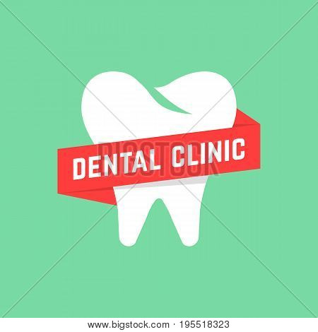 dental clinic with red banner. concept of dental implant, dentist office mark or app, prosthetics, recovery. isolated on green background. flat style trend modern brand design vector illustration