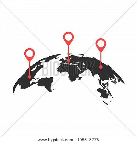 curved world map with red pins. concept of trip around the world, globalization, geolocation search, tourism. isolated on white background. flat style trend modern logo design vector illustration