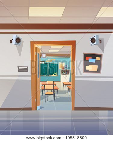 Empty School Corridor With Open Door To Class Room Flat Vector Illustration